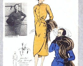 1950s dress coat vintage sewing pattern reproduction bust 34