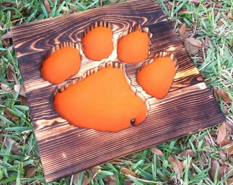 Clemson University Tigers Wood Burned Sign - Reclaimed Wood