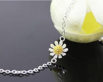 sterling silver daisy bracelet, daisy bracelet,daisy flower bracelet,daisy flower bracelet,gold daisy bracelet,daisy jewelry, flower jewelry