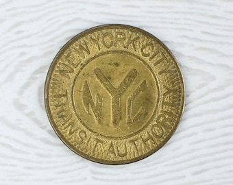 "1980 ""Solid Brass NYC"" New York City Subway Token NYCTA MTA Transit Authority"