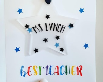 Thank you Card, Acrylic Star, Thank You, Personalised Teacher Card, Teaching Assistant,  Card for Teacher, Teaching Assistant, Perspex Star