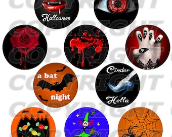 Printable collage sheet (file) Haloween gothic rond shape