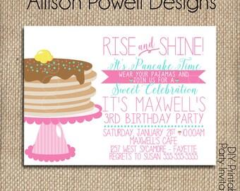 Pajamas and Pancakes Birthday Invitation, Breakfast, Pajama Birthday Party Invitation - Print your own