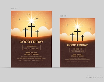 Good Friday Flyer | Easter Friday Template | Photoshop,Elements and MSWord Template | Instant Download