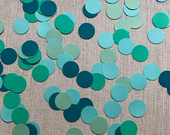 Shades of Blue and Green Dot Confetti - Green and Blue Decor - Sea Party Confetti - Ocean Party Decorations - Circle Confetti - Blue Green