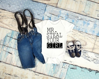 Mr. Steal your girl baby onesie for newborn, 6 months, 12 months, and 18 months funny graphic baby onesie, baby boy clothing