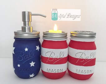 American Flag Mason Jars Bathroom or Kitchen Soap Dispenser