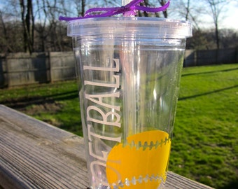 Personalized Softball Tumbler- With Name on the Back