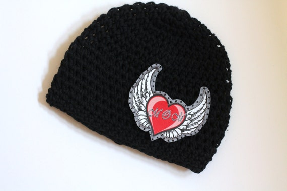 Hat Kids Hats Accessory Tattoo Heart I Love Mom Applique on Cotton Crochet Hat for Babies, Toddlers and Kids, Made in USA Free Shipping US