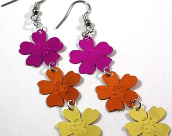 Luau Flower Earrings Purple Orange & Yellow Summer Party Dangles Plastic Sequins