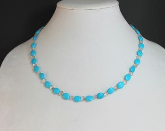Blue and Smokey Quartz Turquoise Clasp Necklace