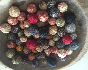 36 Tiny Ragballs Look Old Primitive Country Rag Balls farmhouse rustic