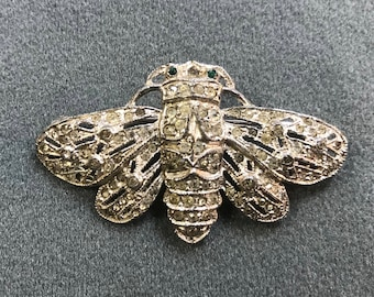 Vintage 1930's Rhinestone Pot Metal Insect Brooch. Free shipping .