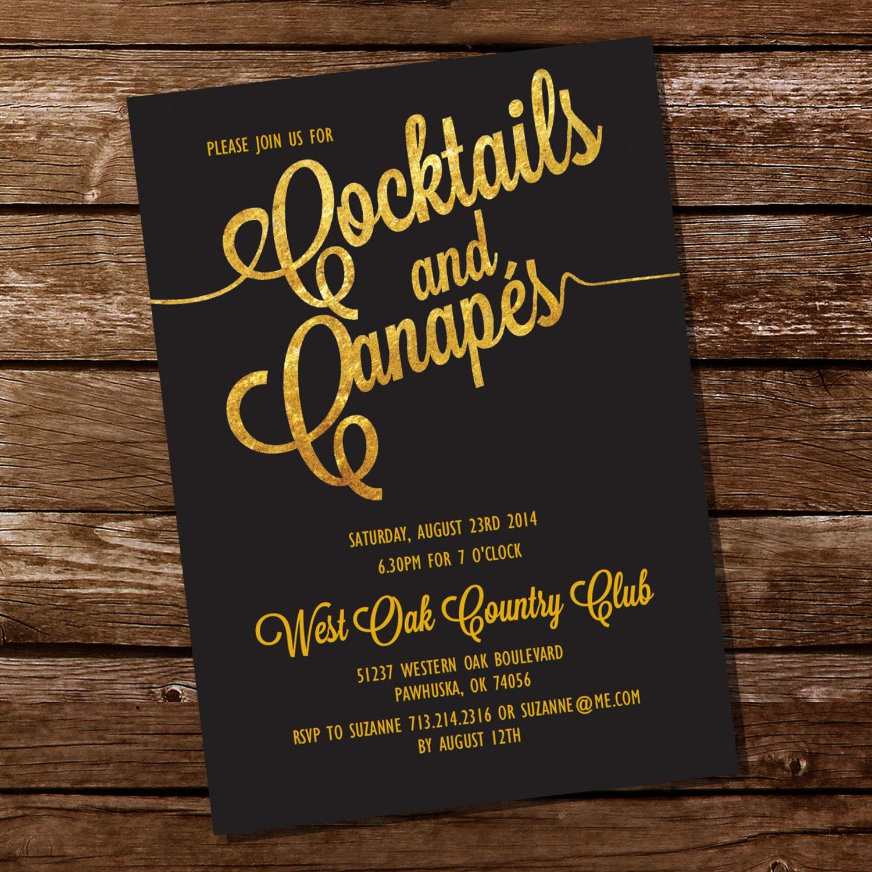 cocktail party invitation canapes invitation gold