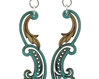 Paisley Leaf - Earrings laser Cut from Sustainable Wood Source