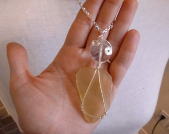 yellow beach glass and crystal necklace