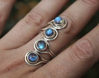 One of a Kind, Sterling Silver Labradorite Ring, 6mm Labradorite, Size 7.5
