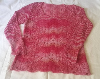 TUNIC PINK HANDKNITTED  lace alpaca and silk