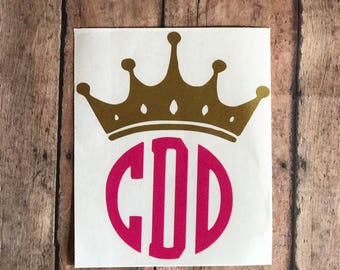 Monogram Sticker, Crown Monogram, Cup Decal, Custom Decal, Vinyl Monogram, Name Decal, Vinyl Stickers, Vinyl Decal, Personalized Womens Car