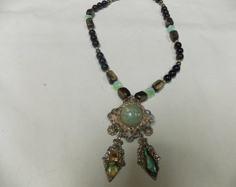 Hand made one of a kind Necklace w/ Vintage pendant