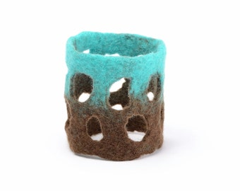 Felt cuff bracelet with grid design - cut out cuff bracelet with holes, lightweight & airy, nice in touch and skin friendly jewelry [BT6]