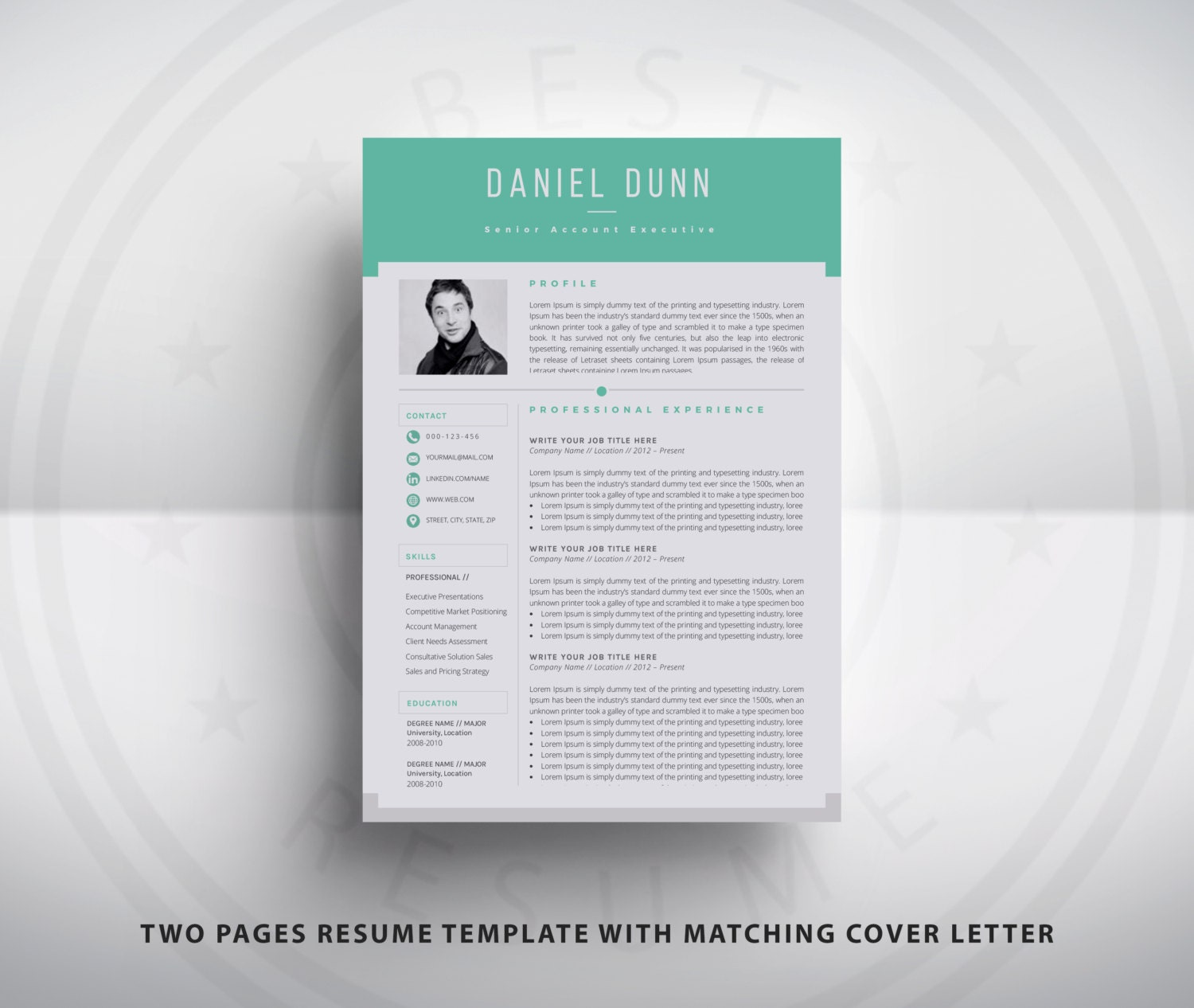 Resume Template / CV Template and Cover Letter for MS Word
