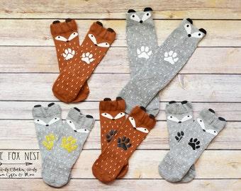 Baby Socks, Fox Socks, Cute Socks, Animal Socks, Fox Knee Socks, Deer Socks, Fox Outfit, Baby Clothes, Baby Shower Gift, Cute Baby Clothes