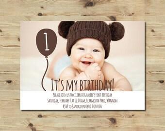 1st Birthday Invitation - Balloon - Boys - Neutral