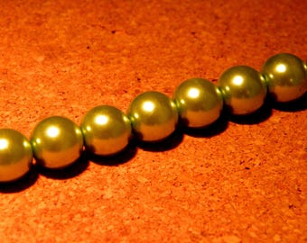20 clear 10 mm Green - Pearl - iridescent glass beads - way PF3 17 cultured pearl