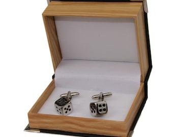 Men's Dice Cufflinks and Gift Box -