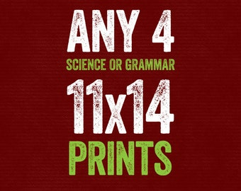 Set of Any 4 11x14 Prints - Grammar or Science - Grammatical Art Home Decor Gift Teacher Gift / Gifts for Teachers English Gifts