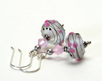 Pink and Gray Lampwork Earrings - Artisan Lampwork Glass with Crystal Accents and Sterling Silver Earwires