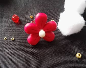 Flower ring cherry red and Pearl