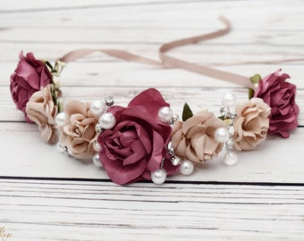 Handcrafted Dusty Rose and Taupe Flower Crown - Bridal Dusty Rose Flower Crown - Woodland Halo - Pearl Wedding Hair Wreath - Flower Girl