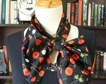 Stylish retro NECK SCARF scarflette neck tie. Red and White flowers on black. Floral. Multiple ways to wear. Perfect gift. Summer.