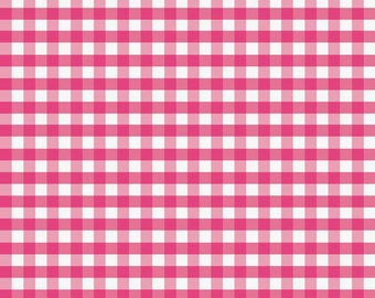 Hot Pink Medium Check Fabric by Riley Blake