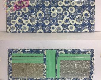 Blue Flowers Duct Tape Bifold Wallet