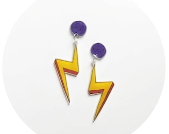 Yellow Lightning Bolt Stud and Dangle Earrings with Purple Stud
