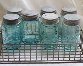 Vintage Aqua Mason Jars with Lithum Tops and Industrial Metal Crate by Nine Star Vintage