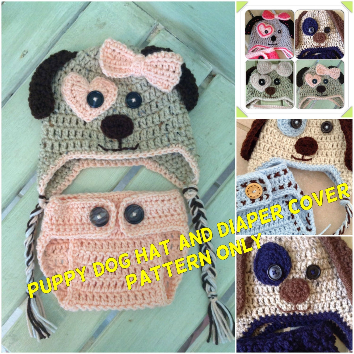 Puppy Dog Hat and Diaper Cover Pattern Only, Crochet Hat and Diaper ...