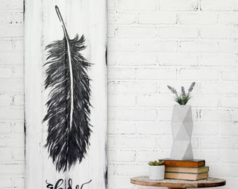 Feather Sign Rustic Feather Sign Rustic Decor Wood Art Feather Art Distressed Wood Sign Distressed Wood Artwork Feather Artwork Wedding Gift
