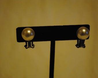 Faux Pearl half bead clip on earrings
