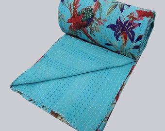 Indian Handmade Quilt Vintage Kantha Boho Bedspread Throw Blanket Gudri Bedding Baby Quilt   Floral Queen Cotton Bed Cover Bedspread Blanket