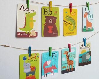 Animal Alphabet Card Set, Nursery Wall Cards, English Alphabet, Flash Cards, English ABC, Art Prints, ABC Cards,  5x7 inch, Alphabet cards