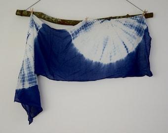 Scarf - Lightweight Cotton Indigo Shibori