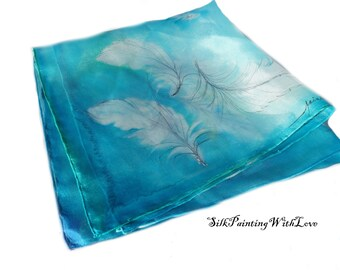 Bandana scarf. Small square scarf. feather scarf. Boho scarf.  Blue and white scarf. silk scarf hand-painted. bird scarf