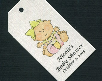 Personalized Baby Shower Favor Tags, rectangular, baby girl with ball, set of 50