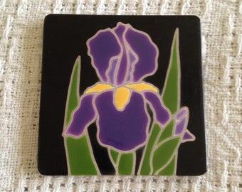 Vintage decorative purple iris handmade tile, Ciaria