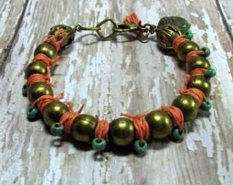 Ball Chain Bracelet, Wrapped Linen Bracelet, Coral Linen Bracelet, Turquoise Bracelet, Boho Bracelet, Statement Bracelet, Boho Jewelry