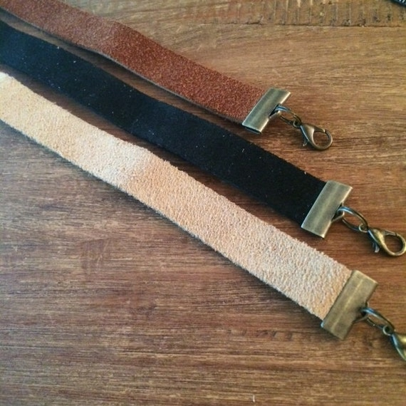 Choker Necklace Black Leather Choker Necklace Tan Beige Brown Cognac Leather Necklace Boho Jewelry Festival Choker Layering Necklace
